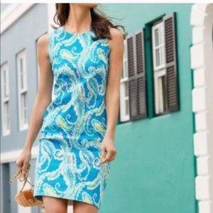 J. MCLAUGHLIN Blue Green Paisley Shift Dress 8